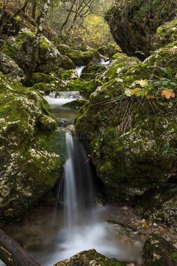 Πηγή του Ρίο Mundo, φυσικό πάρκο Los Calares del rÃo Mundo Υ de Λα Sima, οροσειρά de Alcaraz Υ del Segura, Albacete επαρχία, στοκ φωτογραφία με δικαίωμα ελεύθερης χρήσης