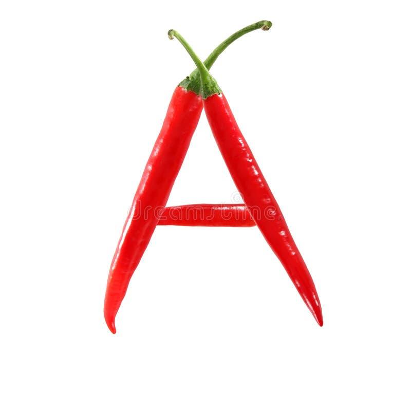 Πηγή φιαγμένη καυτό κόκκινο πιπέρι τσίλι που απομονώνεται από - γράψτε το Α στοκ φωτογραφία