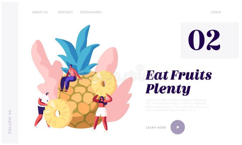 Πηγή φρούτων βιταμίνης και προσγειωμένος σελίδας ιστοχώρου υγείας, τεράστιου ανανά και μικροσκοπικών ανθρώπων, χορτοφάγου και υγι ελεύθερη απεικόνιση δικαιώματος