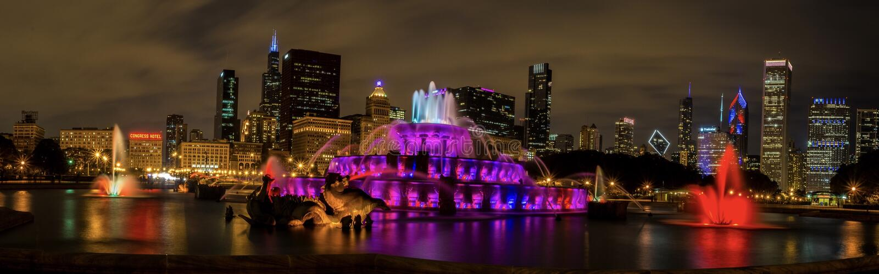 Πηγή Buckingham στο στο κέντρο της πόλης Σικάγο στοκ φωτογραφίες