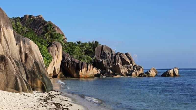 Πηγή d Argent, νησί Λα Digue, Σεϋχέλλες Anse στοκ εικόνες με δικαίωμα ελεύθερης χρήσης