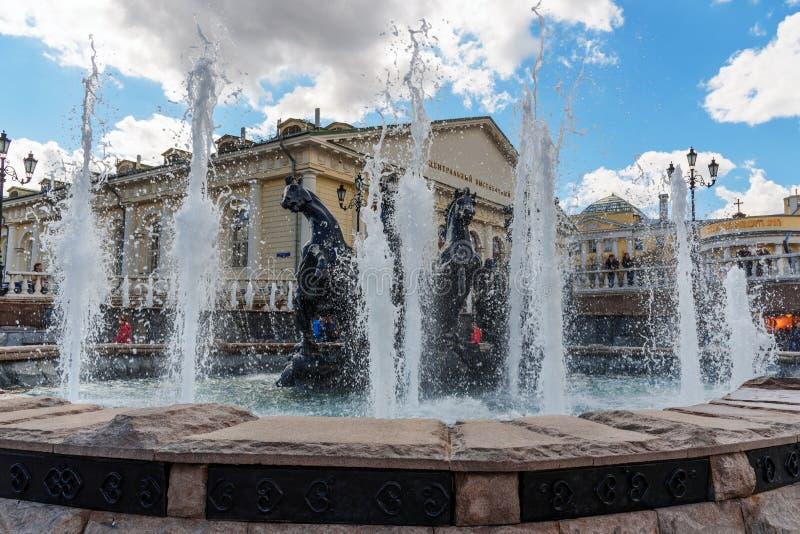 Πηγή Four Seasons στην πλατεία Manezh στη Μόσχα Ρωσία στοκ φωτογραφίες με δικαίωμα ελεύθερης χρήσης