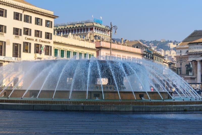 Πηγή Piazza de Ferrari στη Γένοβα Ιταλία στοκ εικόνα