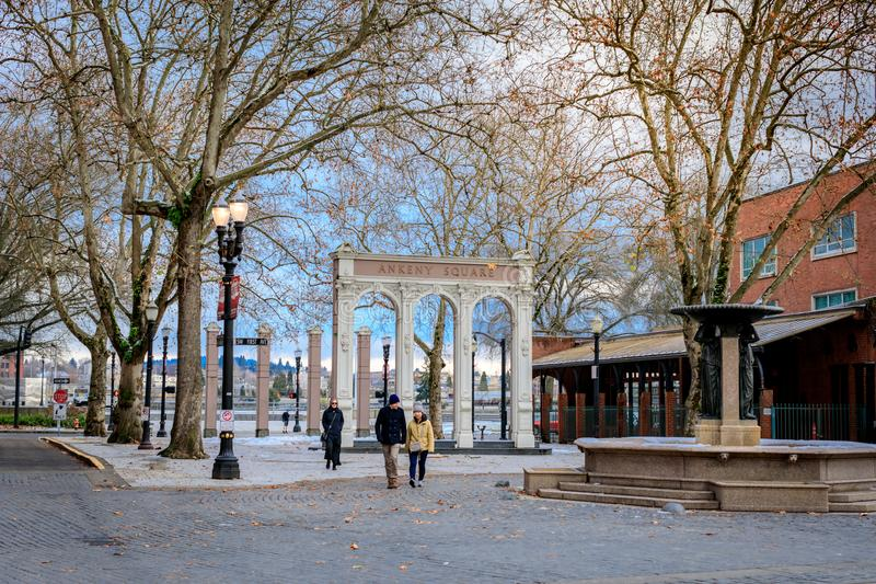 Πηγή Skidmore, η οποία είναι μια ιστορική πηγή στην παλαιά πόλη Dist στοκ φωτογραφία με δικαίωμα ελεύθερης χρήσης