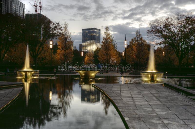 Πηγή Wadakura μετά από το ηλιοβασίλεμα, Ιαπωνία του Τόκιο στοκ εικόνες με δικαίωμα ελεύθερης χρήσης