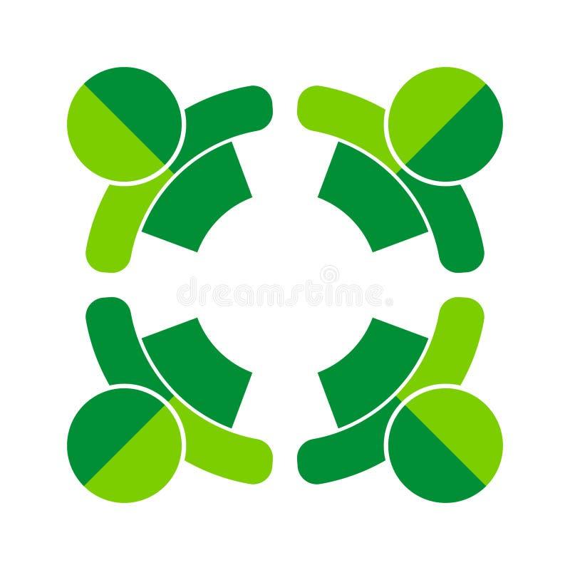 Πηγαίνετε πράσινη εργασία τέσσερα ομάδων λογότυπο ανθρώπων απεικόνιση αποθεμάτων