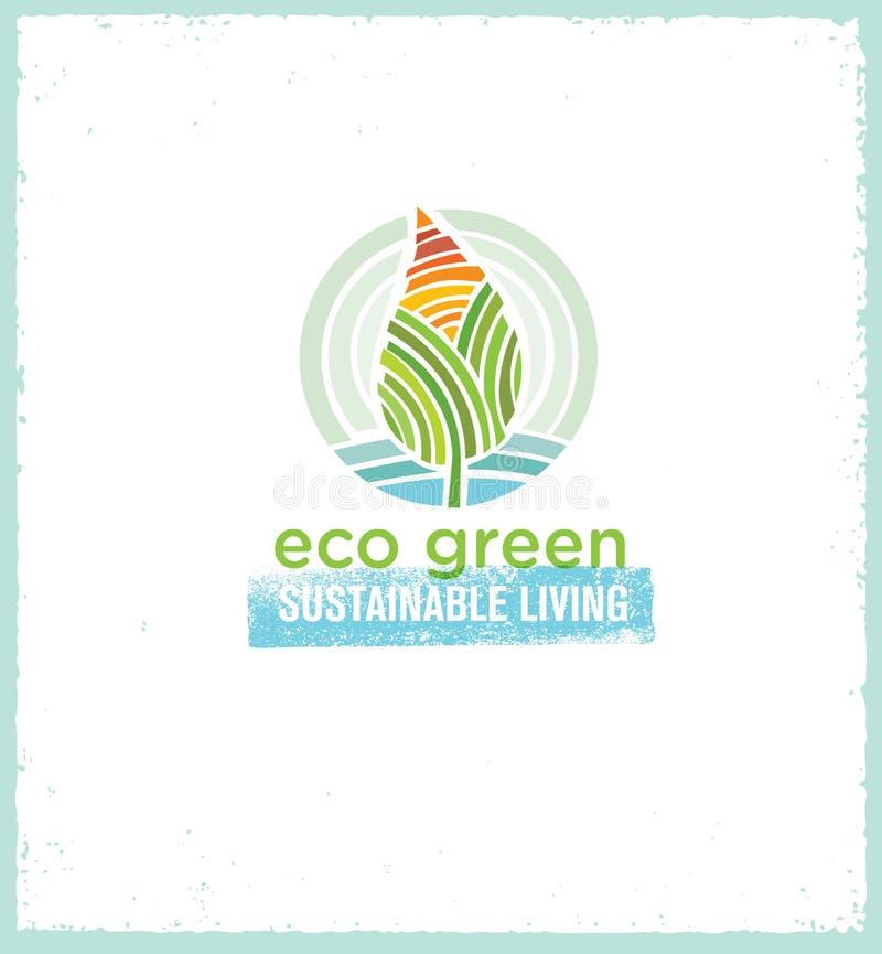 Πηγαίνετε πράσινος ανακύκλωσης μειώνει την έννοια αφισών Eco επαναχρησιμοποίησης Διανυσματική δημιουργική οργανική απεικόνιση στο διανυσματική απεικόνιση