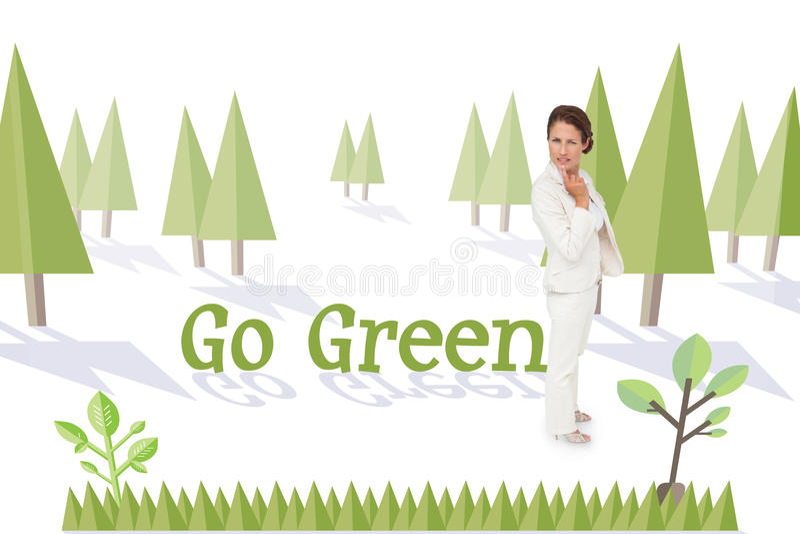 Πηγαίνετε πράσινος ενάντια στο δάσος με το γήινο δέντρο διανυσματική απεικόνιση