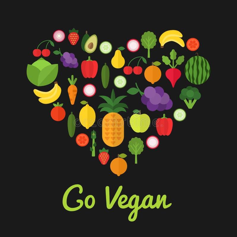 Πηγαίνετε vegan σχέδιο τρόφιμα έννοιας υγιή Μορφή καρδιών που γεμίζουν με τη συλλογή των φρέσκων υγιών φρούτων και λαχανικών απεικόνιση αποθεμάτων