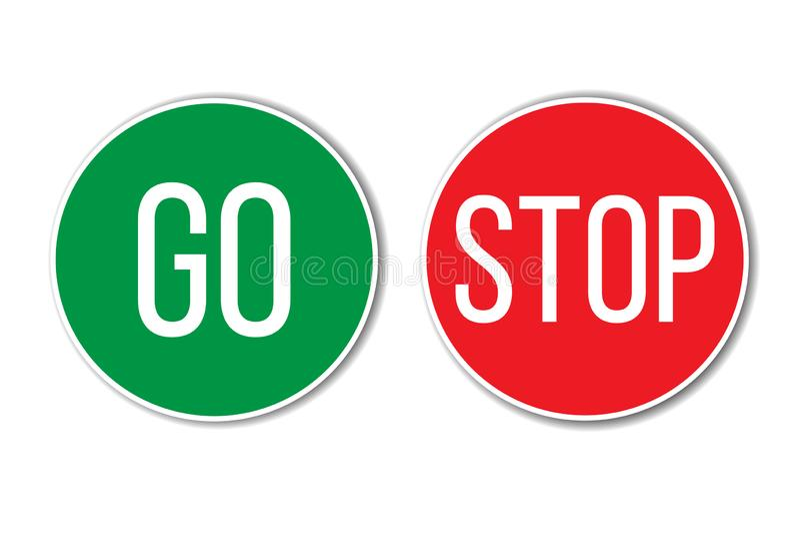 ΠΗΓΑΙΝΕΤΕ και ΣΤΑΜΑΤΗΣΤΕ το κόκκινο πράσινο από τα αριστερά προς τα δεξιά κείμενο λέξης πλήκτρο τα ΟΝ παρόμοια με τα σημάδια κυκλ διανυσματική απεικόνιση