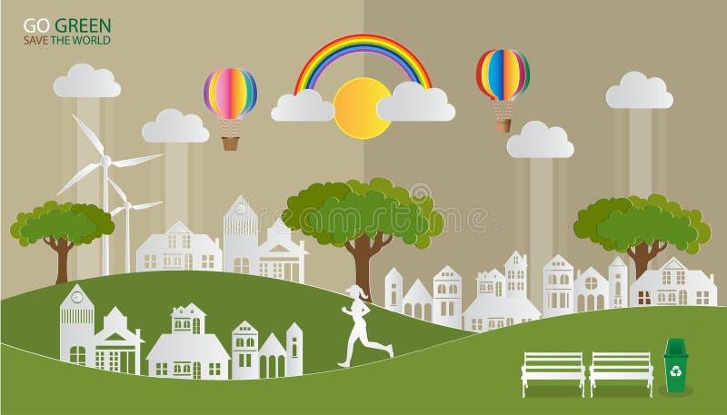 ΠΗΓΑΙΝΕΤΕ ΠΡΑΣΙΝΟ SAVE ο ΚΌΣΜΟΣ, τοπίο με το χωριό στη φύση και οι άνθρωποι που χαλαρώνουν στα πάρκα πόλεων, περιβαλλοντικά eco φ ελεύθερη απεικόνιση δικαιώματος
