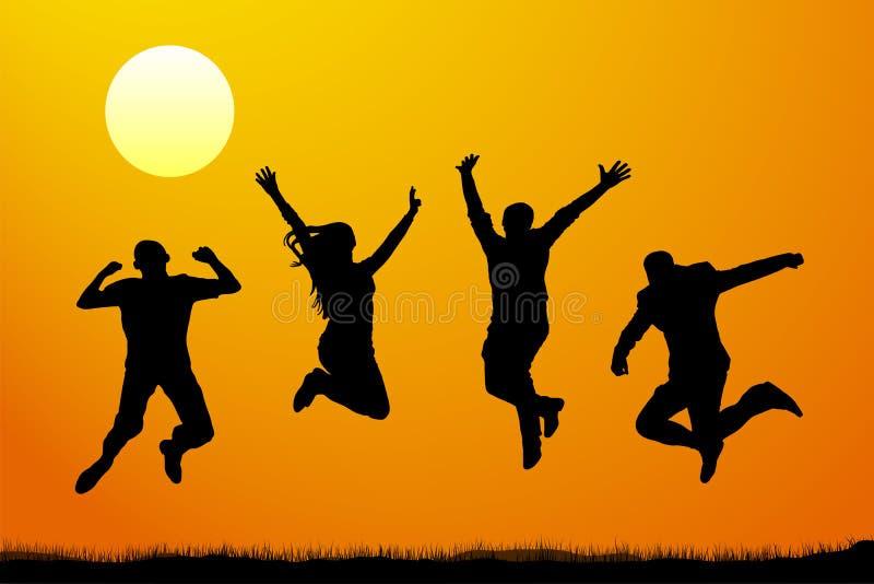 Πηδώντας άνθρωποι στο ηλιοβασίλεμα, διανυσματική σκιαγραφία ελεύθερη απεικόνιση δικαιώματος