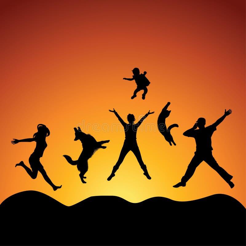 πηδώντας άνθρωποι διανυσματική απεικόνιση