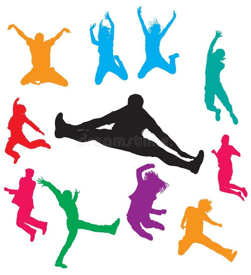 πηδώντας άτομα διανυσματική απεικόνιση