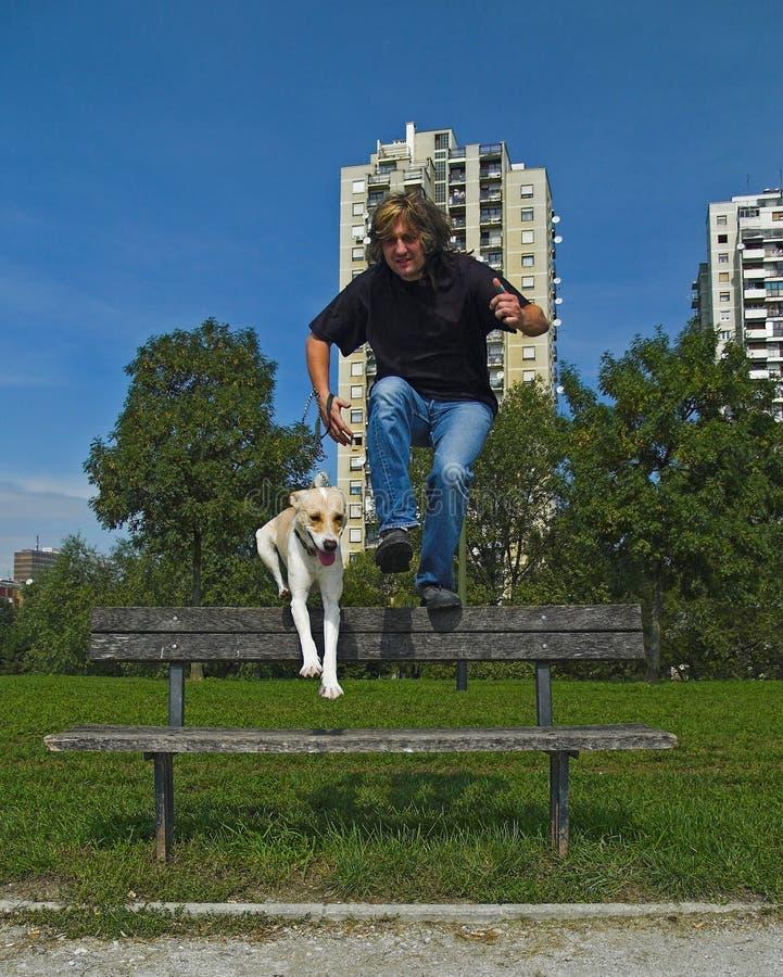 πηδώντας άτομο σκυλιών πάγκων στοκ φωτογραφία με δικαίωμα ελεύθερης χρήσης