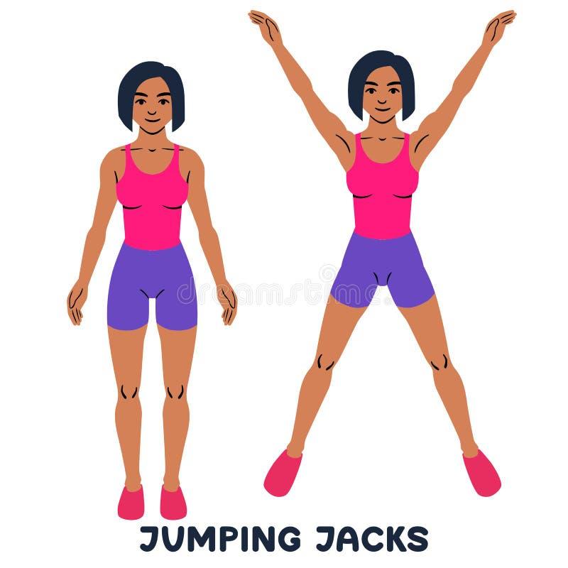 Πηδώντας γρύλος Αθλητικό exersice Σκιαγραφίες της γυναίκας που κάνουν την άσκηση Workout, κατάρτιση διανυσματική απεικόνιση