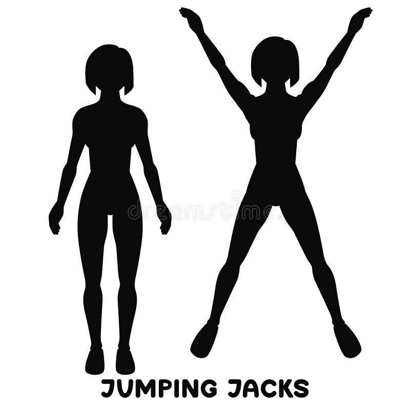 Πηδώντας γρύλος Αθλητικό exersice Σκιαγραφίες της γυναίκας που κάνουν την άσκηση Workout, κατάρτιση απεικόνιση αποθεμάτων
