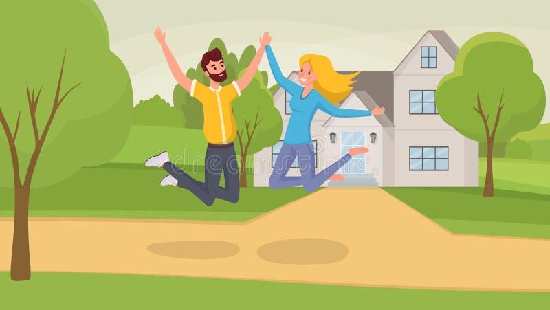 Πηδώντας επίπεδη διανυσματική απεικόνιση ζευγών Χαρακτήρες κινουμένων σχεδίων συζύγων και συζύγων που γιορτάζουν την κίνηση στο κ διανυσματική απεικόνιση