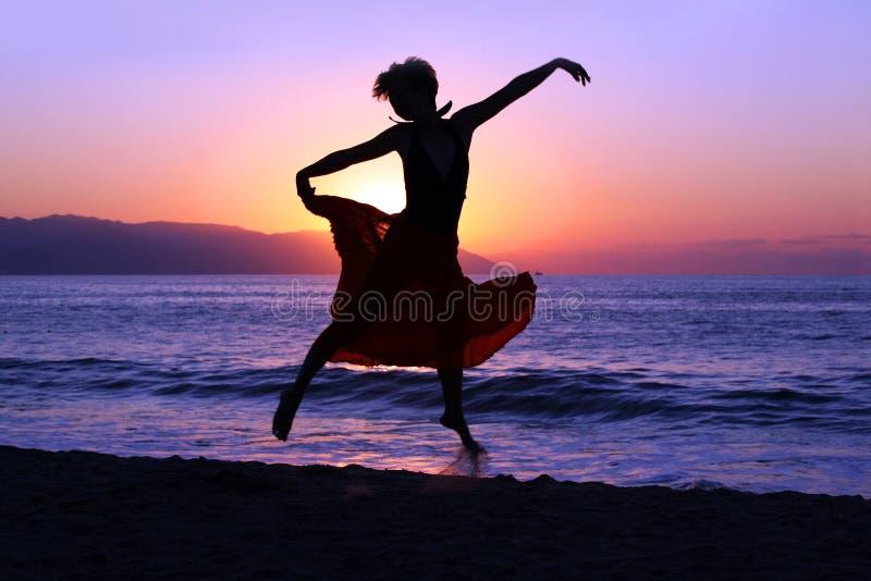 πηδώντας ηλιοβασίλεμα στοκ εικόνα