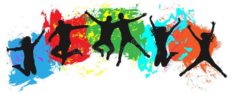 Πηδώντας νεολαία στο ζωηρόχρωμο υπόβαθρο Άλματα των εύθυμων νέων, φίλοι διανυσματική απεικόνιση