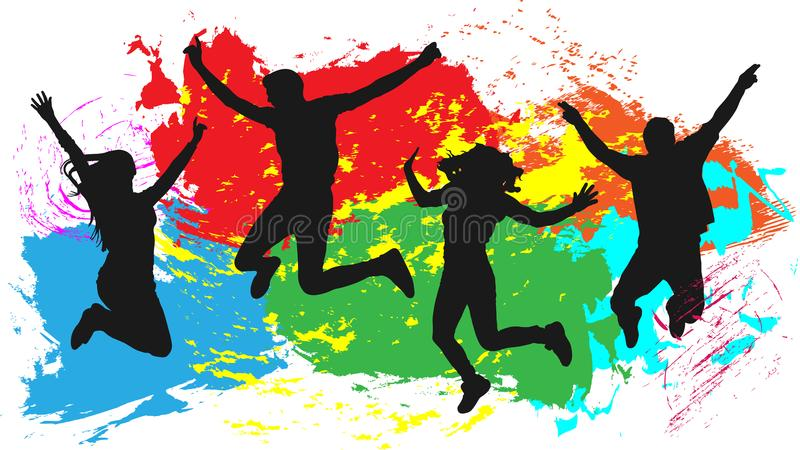 Πηδώντας σκιαγραφία φίλων ανθρώπων, ζωηρόχρωμο φωτεινό υπόβαθρο παφλασμών μελανιού διανυσματική απεικόνιση