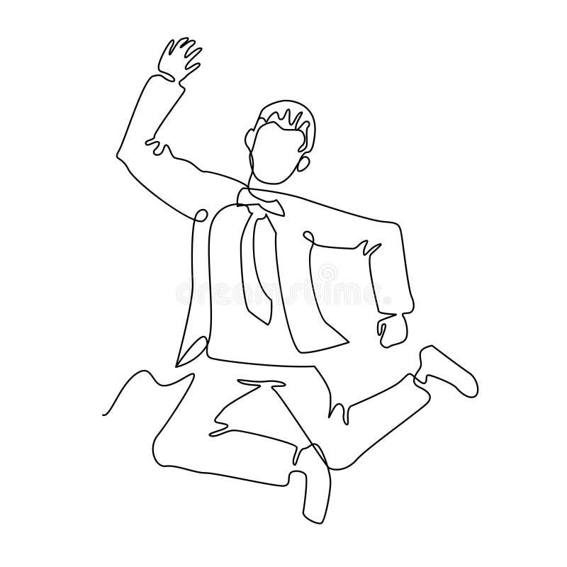 Πηδώντας τέχνη γραμμών επιχειρηματιών συνεχής Επιτυχής εορτασμός ανθρώπων Γραμμική έννοια επιχειρησιακής ομαδικής εργασίας διανυσματική απεικόνιση