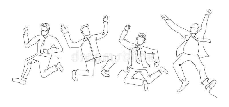 Πηδώντας τέχνη γραμμών επιχειρηματιών συνεχής Επιτυχής εορτασμός ανθρώπων Γραμμική έννοια επιχειρησιακής ομαδικής εργασίας απεικόνιση αποθεμάτων