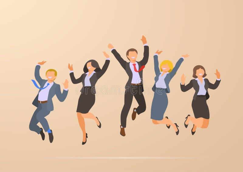 Πηδώντας χορεύοντας ευτυχείς επιτυχείς επιχειρηματίες φ απεικόνιση αποθεμάτων
