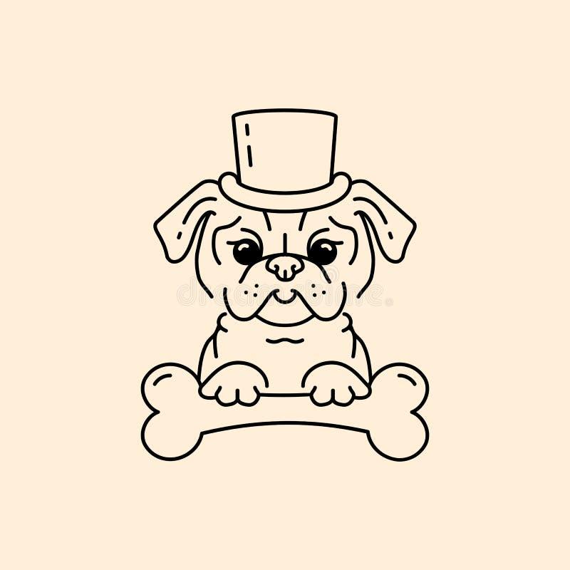 Πηλός-σκυλί κινούμενων σχεδίων κυρίων μαλαγμένου πηλού Χαριτωμένο σκυλί στο καπέλο και με ένα κόκκαλο Σχέδιο τέχνης γραμμών, διαν διανυσματική απεικόνιση