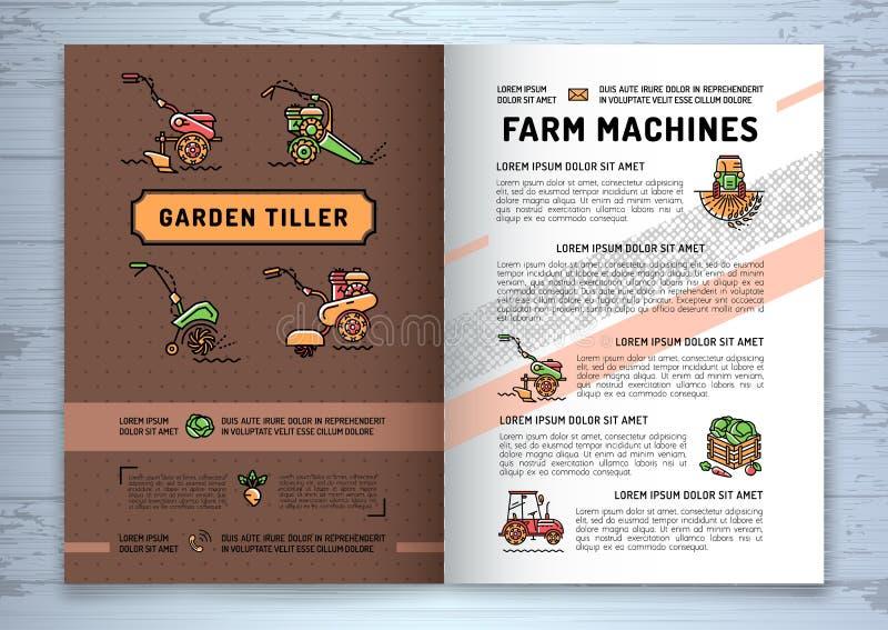 Πηδάλιο κήπων και γεωργικό επιχειρησιακό φυλλάδιο αγροτικών μηχανών απεικόνιση αποθεμάτων