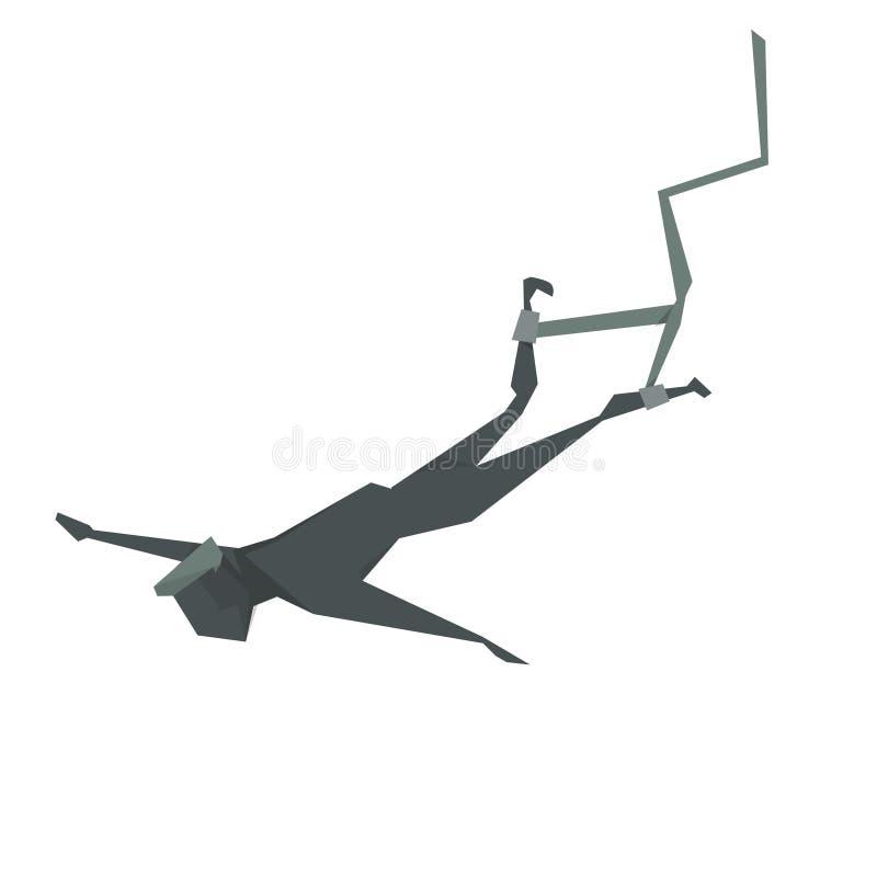 Πηδώντας άτομο κινούμενων σχεδίων Bungee διανυσματική απεικόνιση
