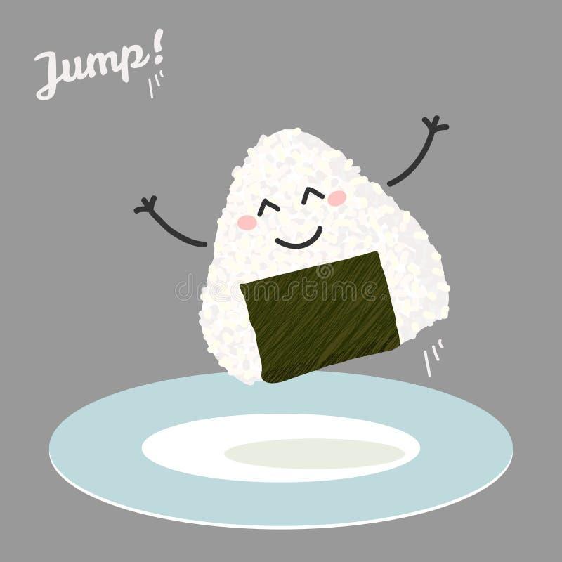 Πηδώντας απεικόνιση onigiri (ιαπωνική σφαίρα ρυζιού) διανυσματική απεικόνιση