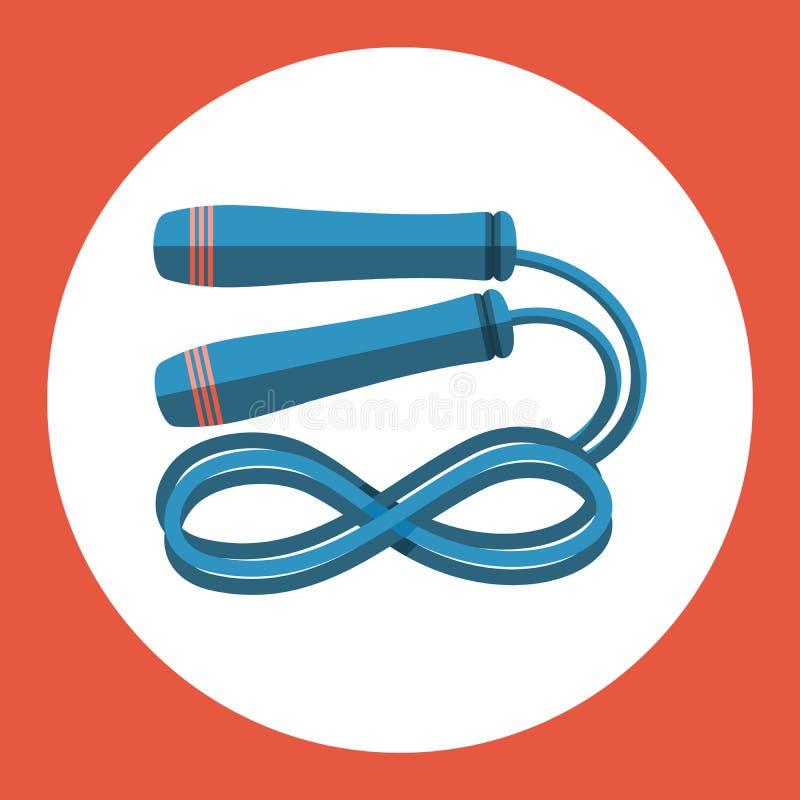 Πηδώντας εικονίδιο σχοινιών Μπλε πηδώντας σχοινί σε ένα κόκκινο υπόβαθρο αθλητικό ύδωρ σκι απεικόνισης εξοπλισμού χρωματισμού επί διανυσματική απεικόνιση
