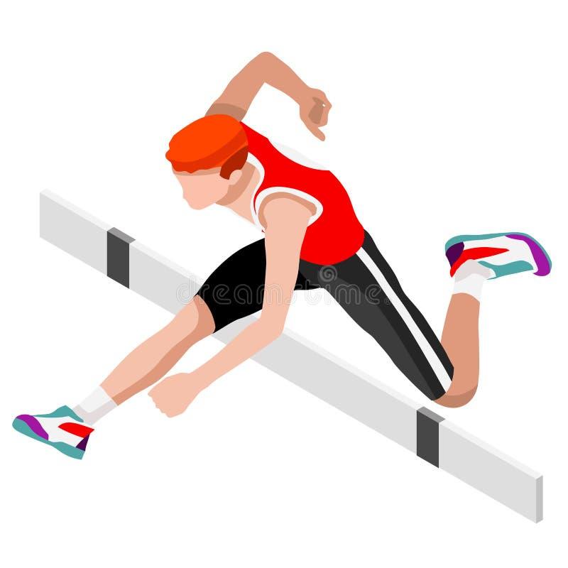 Πηδώντας σύνολο εικονιδίων θερινών αγώνων εμποδίων αθλητισμού τρισδιάστατος Isometric αθλητής Διεθνής αθλητισμός Competi πρωταθλή ελεύθερη απεικόνιση δικαιώματος
