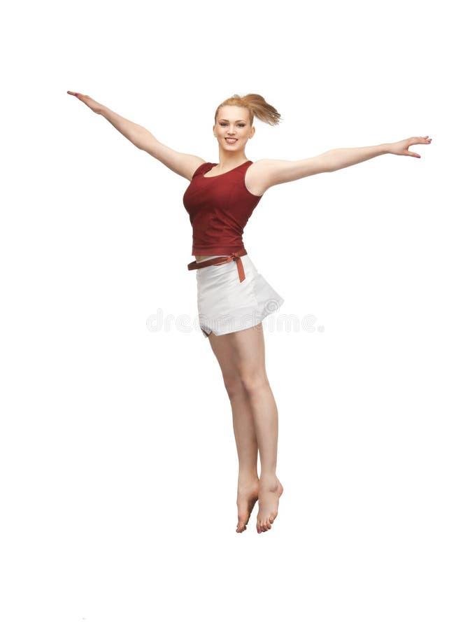 Πηδώντας φίλαθλο κορίτσι στοκ εικόνες με δικαίωμα ελεύθερης χρήσης