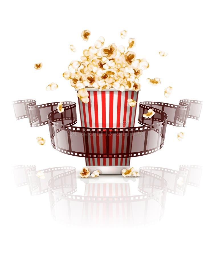 Πηδώντας popcorn και ταινία-λουρίδων ταινία ελεύθερη απεικόνιση δικαιώματος