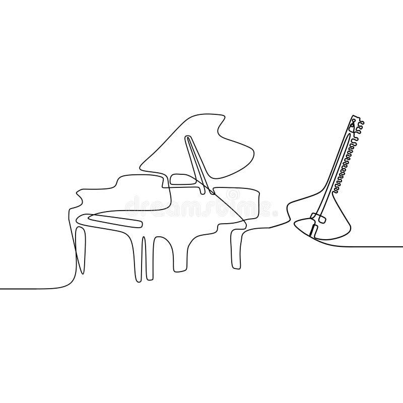 Πιάνο ένα μαντολίνων παραδοσιακά μουσικά όργανα γραμμών Περίγραμμα που τίθεται διανυσματικό για τον πίνακα διαφημίσεων μουσικής ελεύθερη απεικόνιση δικαιώματος
