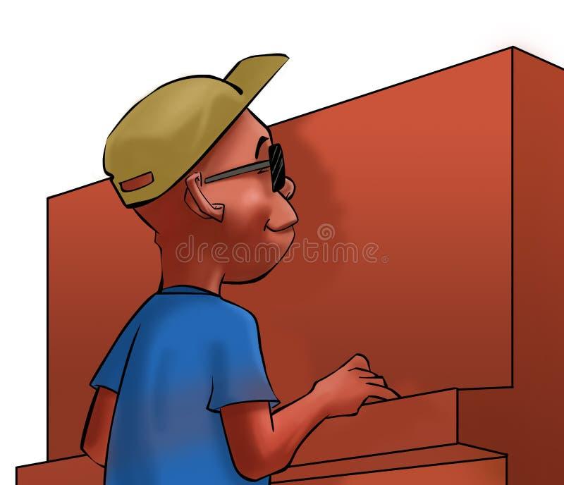 πιάνο αγοριών απεικόνιση αποθεμάτων