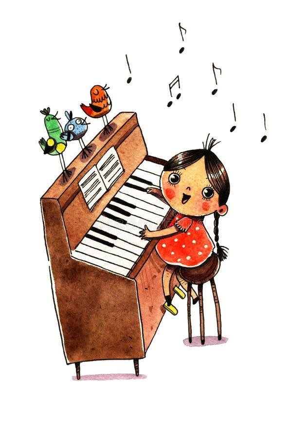 Πιάνο και κορίτσι Watercolor απεικόνιση αποθεμάτων