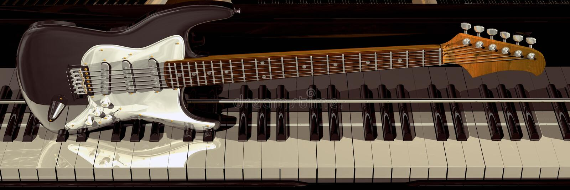 πιάνο μουσικής κιθάρων ανασκόπησης στοκ εικόνες