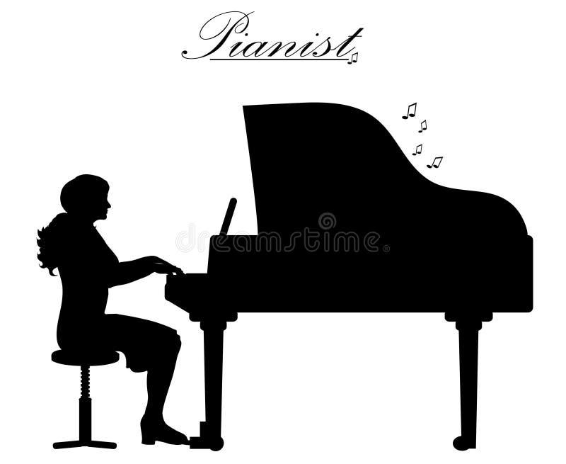 πιάνο παιχνιδιού γυναικών ελεύθερη απεικόνιση δικαιώματος
