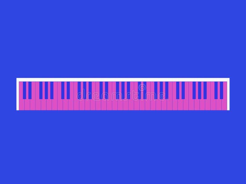 πιάνο πλήκτρων Αναδρομικό ύφος 80 χρώματα ` s, ρόδινος και μπλε κορυφαία όψη διάνυσμα απεικόνιση αποθεμάτων
