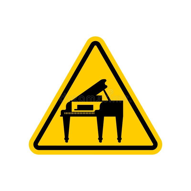 Πιάνο προσοχής Κίτρινο απαγορευτικό τριγωνικό οδικό σημάδι Cautio διανυσματική απεικόνιση