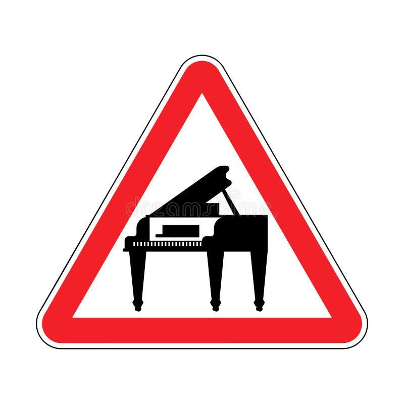 Πιάνο προσοχής Κόκκινο απαγορευτικό τριγωνικό οδικό σημάδι Προσοχή Μ ελεύθερη απεικόνιση δικαιώματος