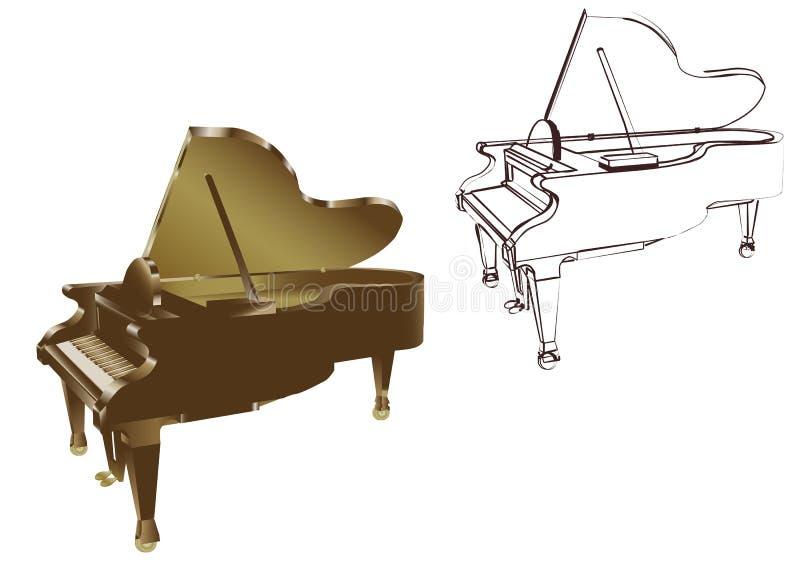 Πιάνο στο άσπρο υπόβαθρο διανυσματική απεικόνιση