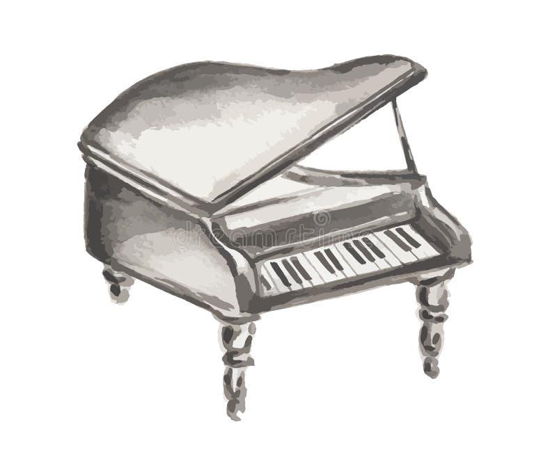 Πιάνο Watercolor απεικόνιση αποθεμάτων