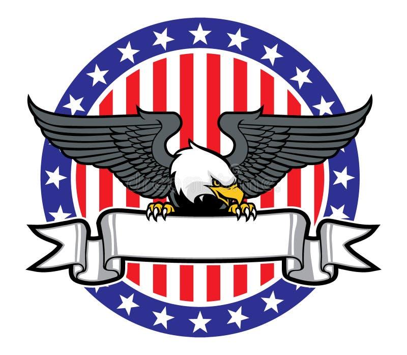 Πιάσιμο αετών μια κορδέλλα με την αμερικανική σημαία ως υπόβαθρο διανυσματική απεικόνιση