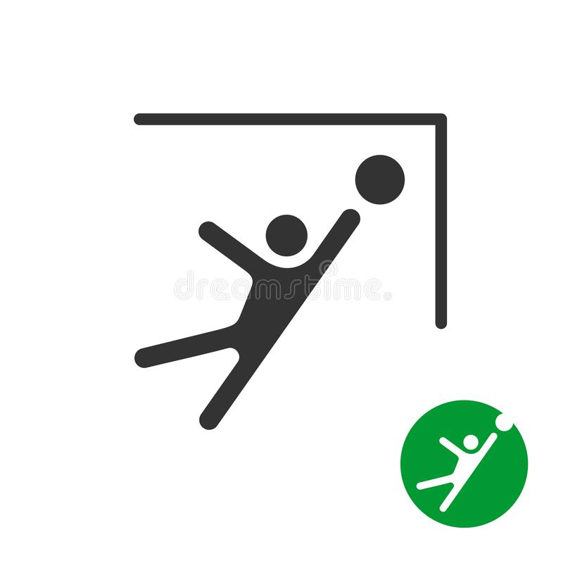 Πιάστε τη σφαίρα ποδοσφαίρου σε ένα εικονίδιο γωνιών πυλών διανυσματική απεικόνιση