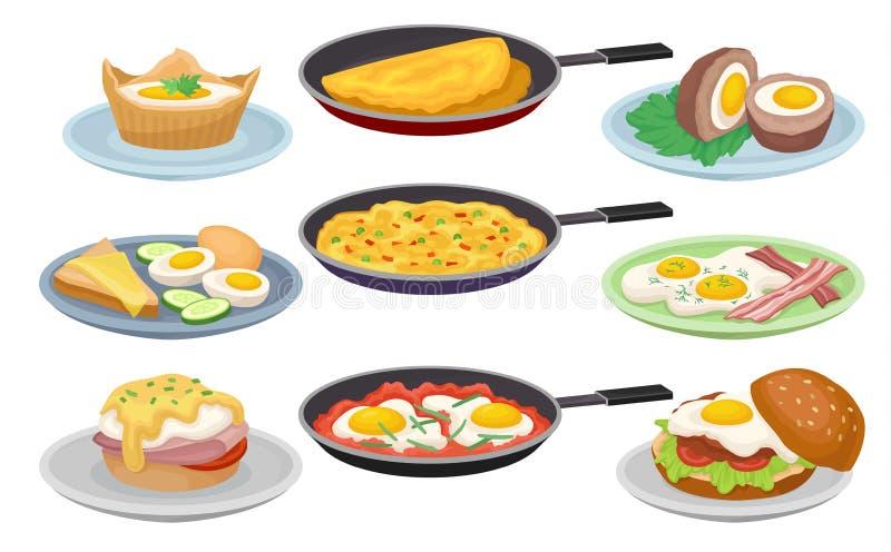 Πιάτα από τα αυγά καθορισμένα, φρέσκα θρεπτικά τρόφιμα προγευμάτων, στοιχείο σχεδίου για τις επιλογές, καφές, διανυσματικές απεικ διανυσματική απεικόνιση
