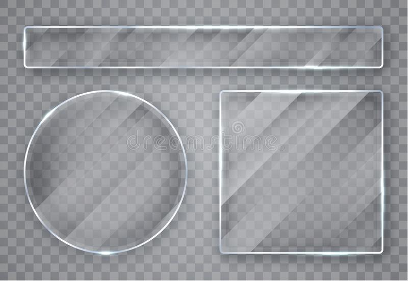 Πιάτα γυαλιού καθορισμένα Εμβλήματα γυαλιού στο διαφανές υπόβαθρο Επίπεδο γυαλί r ελεύθερη απεικόνιση δικαιώματος